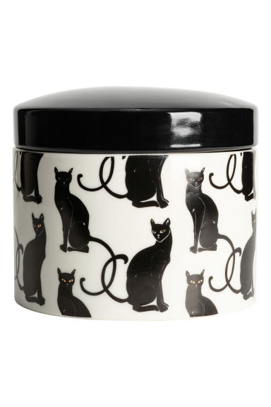 Porcelain cake box - White/Cats - Home All | H&M IE 1