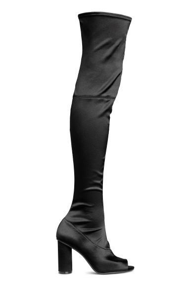 Satin thigh-high boots - Black - Ladies | H&M 1