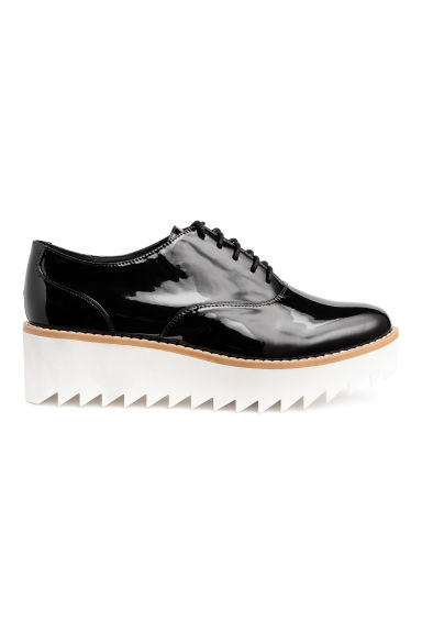 Patent platform shoes - Black/White - Ladies | H&M