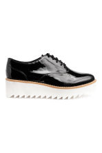 Patent platform shoes - Black/White - Ladies | H&M CN 1