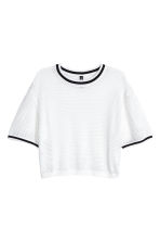 Short mesh top - White - Ladies | H&M CN 2