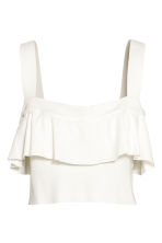 Cropped flounced top - White - Ladies | H&M CN 2