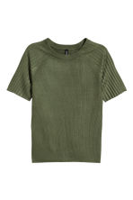 Ribbed Top - Khaki green - Ladies | H&M CA 2