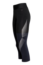 3/4-length sports tights - Dark blue marl -  | H&M IE 3