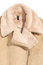 Imitation suede biker jacket - Beige - Ladies | H&M 3