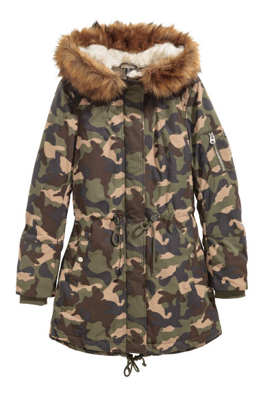 Padded parka - Khaki green/Patterned -  | H&M