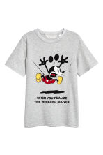 T-shirt with a print motif - Light grey/Mickey Mouse - Kids | H&M CA 2