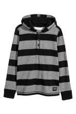 Jersey hooded top - Black/Grey/Striped -  | H&M CN 2