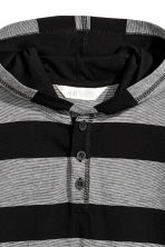 Jersey hooded top - Black/Grey/Striped -  | H&M CN 3