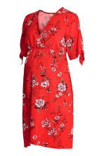 V-neck dress - Red/Floral - Ladies | H&M CN 2