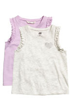 2-pack tops - Light beige marl - Kids | H&M 2
