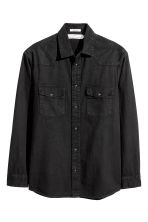 Denim shirt Regular fit - Black - Men | H&M 2