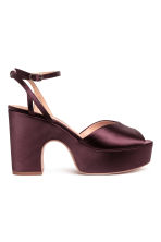 Satin platform sandals - Burgundy - Ladies | H&M CN 1