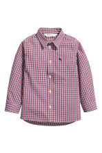 Cotton shirt - Red/Blue checked - Kids | H&M CN 2