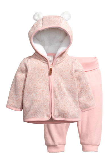 Fleece jacket and trousers - Light pink marl - Kids | H&M 1
