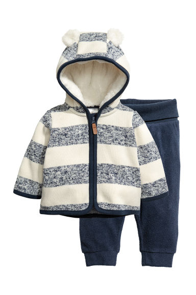 Fleece jacket and trousers - Dark blue/White striped - Kids | H&M