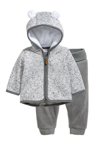 Fleece jacket and trousers - Light grey marl -  | H&M CN