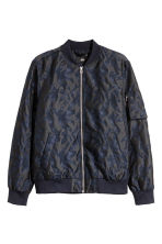 Jacquard-weave bomber jacket - Dark blue/Patterned - Men | H&M CN 2
