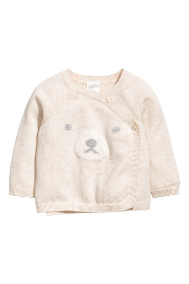 Wrapover cotton cardigan - Light beige/bear - Kids | H&M 1