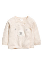 Wrapover cotton cardigan - Light beige/bear - Kids | H&M GB 1