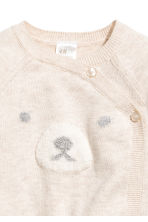 Wrapover cotton cardigan - Light beige/bear - Kids | H&M GB 2