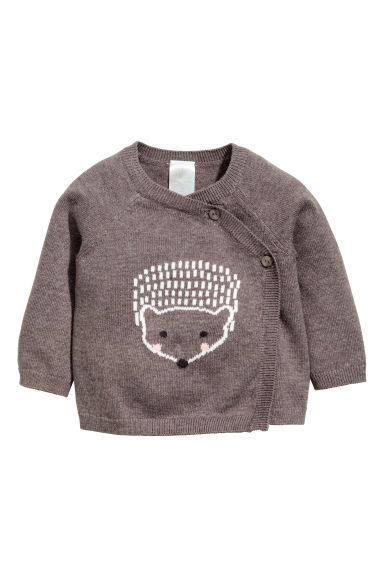 Wrapover cotton cardigan - Brown marl/Hedgehog -  | H&M GB 1
