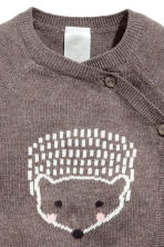 Wrapover cotton cardigan - Brown marl/Hedgehog -  | H&M CN 2