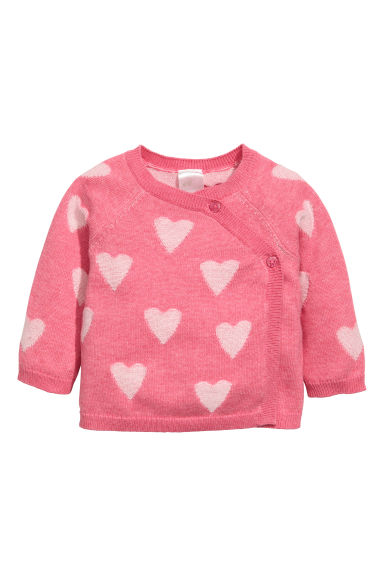 Wrapover cotton cardigan - Pink/Hearts -  | H&M GB 1