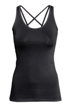 Seamless yoga vest top - Black - Ladies | H&M CN 2