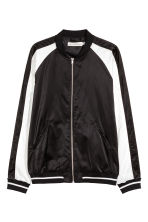 Satin bomber jacket - Black/White - Men | H&M CA 2