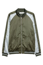 Satin bomber jacket - Khaki green/Light grey - Men | H&M 2
