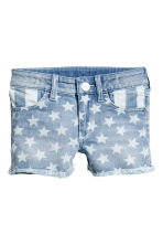 Printed denim shorts - Denim blue/Star - Kids | H&M CN 2