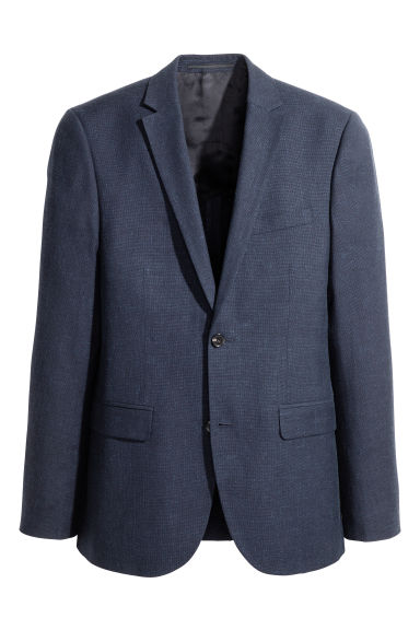Blazer in misto lana Slim fit - Blu scuro - UOMO | H&M IT 1