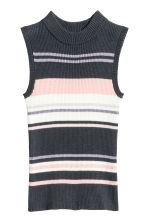 羅紋上衣 - Dark grey/Striped -  | H&M 2