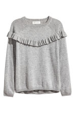 Fine-knit jumper with a frill - Grey marl -  | H&M 2