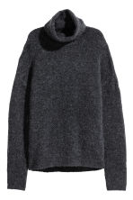 Knitted polo-neck jumper - Dark grey - Ladies | H&M 1