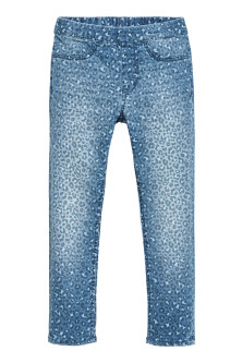 Patterned denim leggings