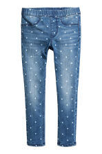 Patterned denim leggings - Denim blue/Spotted - Kids | H&M 2