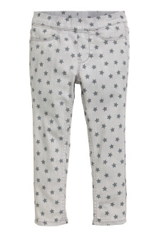 Denim legging met dessin