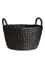 Round Water Hyacinth Basket - Charcoal gray - Home All | H&M CA 1