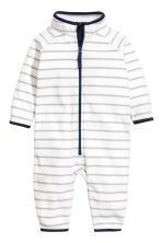 Fleece all-in-one suit - White/Grey striped - Kids | H&M 1