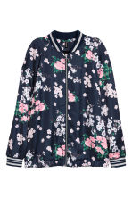 Satin bomber jacket - Dark blue/Floral - Ladies | H&M CN 2