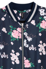 Satin bomber jacket - Dark blue/Floral - Ladies | H&M CN 3