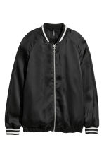 Satin bomber jacket - Black - Ladies | H&M 2