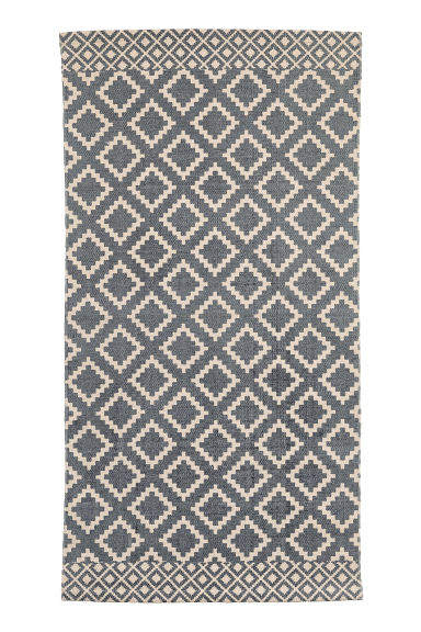 Patterned Cotton Rug - Natural white/dark blue -  | H&M CA