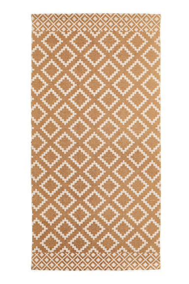 Patterned cotton rug - Natural white/Mustard yellow - Home All | H&M CN 1