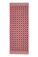 Patterned cotton rug - Natural white/Dark red - Home All | H&M CN 1