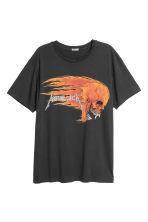 Cotton jersey T-shirt - Black/Metallica - Men | H&M 2