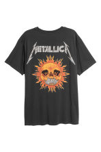 Cotton jersey T-shirt - Black/Metallica - Men | H&M 3