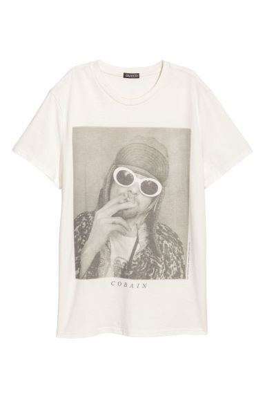 Cotton jersey T-shirt - Natural white/Kurt Cobain - Men | H&M CN